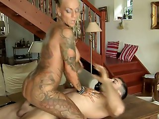 Sexy blonde tattooed milf fucked by big cock!!