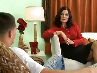 Mature psychologist fucks her young patient