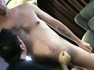 Straight guy closes his eyes for gay bj