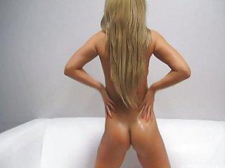 Sexy blonde Czech oil masturbation