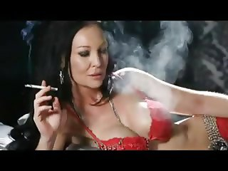 Smoking brunette in red lingerie + 120