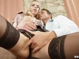 Blonde babe in lingerie and stockings gets her pussy licked and sucked