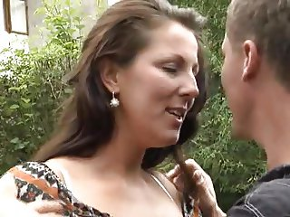 German Mom Outdoor Strong Sex.
