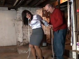 Milf secretary bound in basement