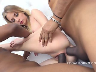 Goldie airtight anal DP with 3 massive black cock