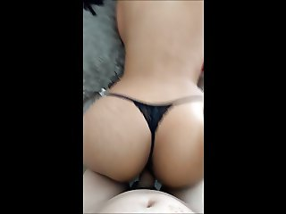 Pounding a thick asian ass with a thong