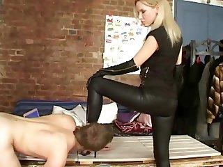 Mistress with doggy Slave
