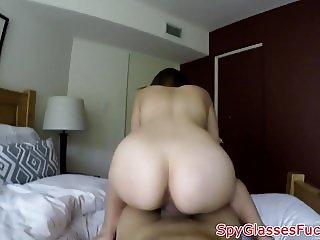 POV fucked beauty gets filmed on spycam