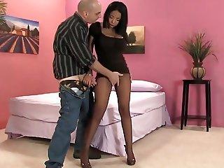 Big Titted Ebony, cum on nylons