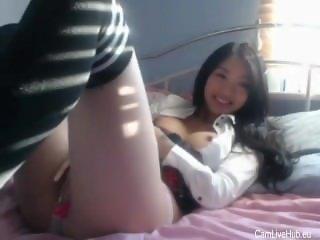 pretty korean girl from i n school uniform teasing n masturbating