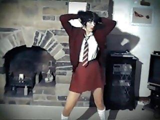 ONE WAY OR ANOTHER - British schoolgirl uniform strip dance