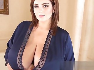 Xenia and her big tits in a blue robe