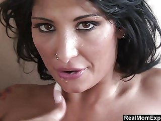 Busty Tattooed MILF get fucked on the couch