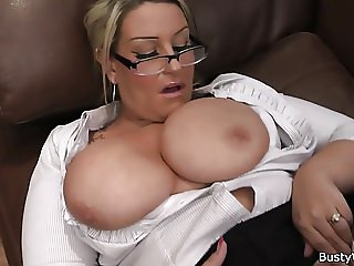 Busty woman in uniform rides at work