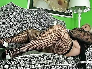 Blonde with thick thighs in fishnets masturbating