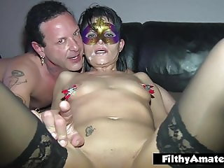 Two moms cougars have orgy with anal, squirt and cum shower