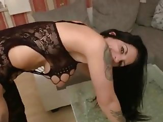 stunning german brunette in lingerie takes hottest creampie