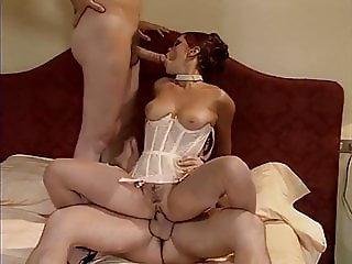 Lady in Corsett satisfied 2 Guys