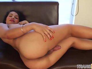 Latina ts twerks and strokes hard cock