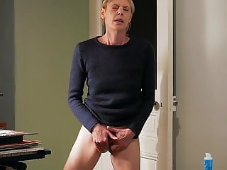 Standing masturbation at home