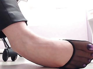 spying feet on the workplace