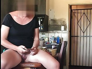 Wife showing pussy to the gardener