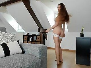 Model looking girl show something