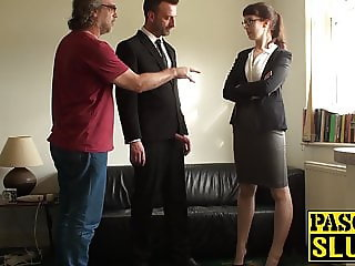 Businesswoman Cassie de la Rage ass domination in bondage