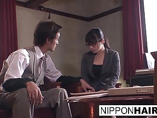 Japanese office slut gets her hairy pussy toyed and fucked