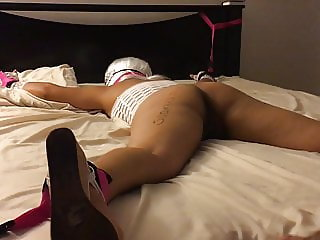 My wife tied up to the bed and fucked