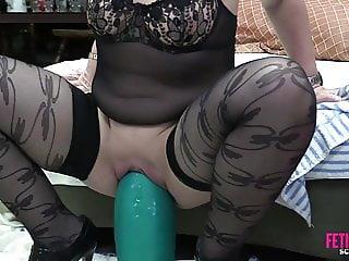 Tabby fucks 3 monster dildos in fetish freak scene