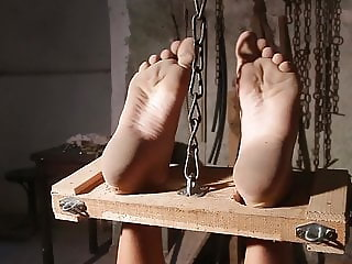 Luna shackled in wooden stock