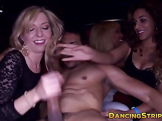 Bachelorette CFNM party with horny girls fucking strippers