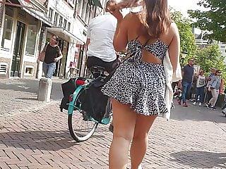 Big ass walking in skirt