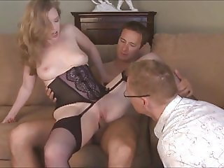 Cuck takes cum on face and pissed in mouth by wife