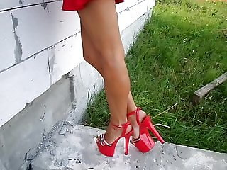 18 cm heels and panties under the dress