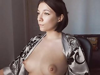 Lovely brunette babe big natural tits boobs big hard nipples