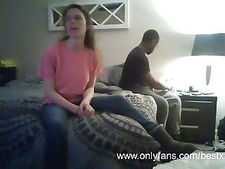 Black dude fucks her while husband works