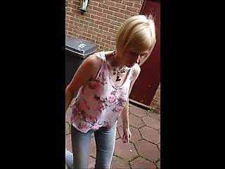 Neighbour cant resist to ask teasing Milf for tit flash